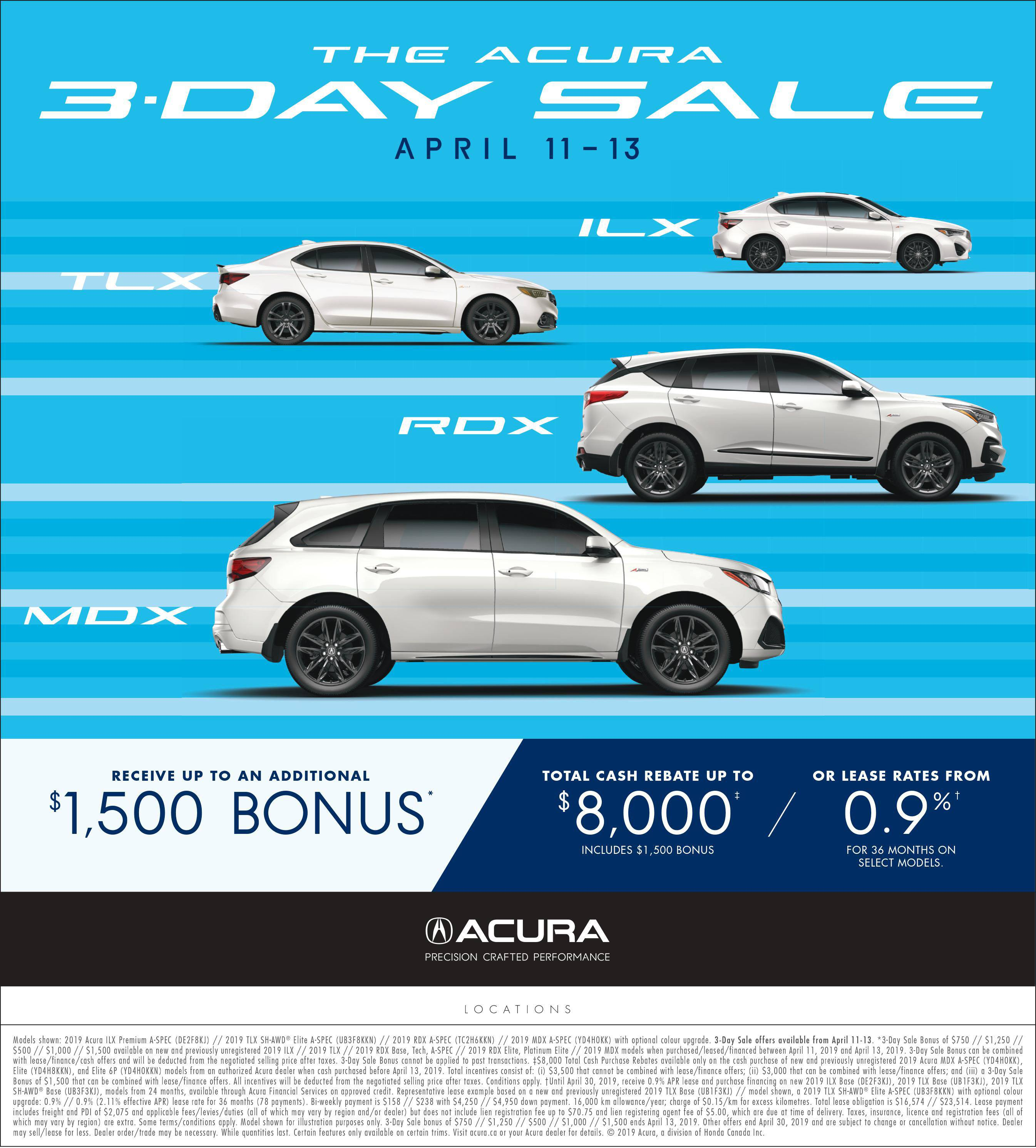 The Acura 3-Day Sale April 11-13