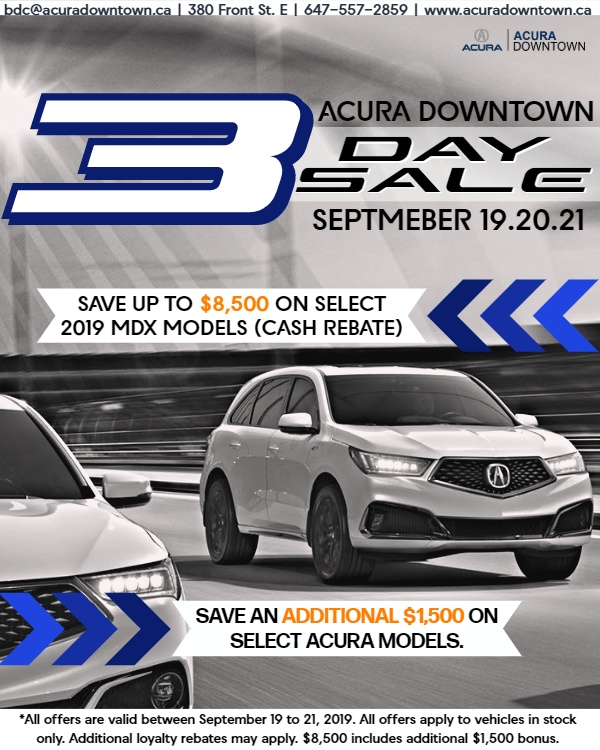 Acura Downtown 3-Day Sale | September