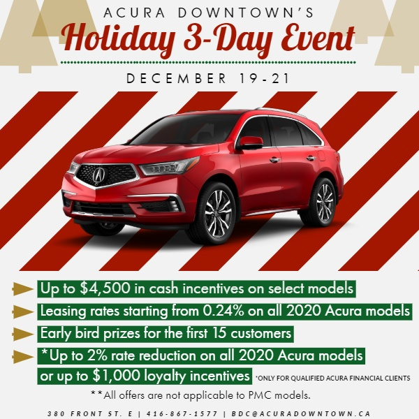 Holiday 3-Day Event| ACURA DOWNTOWN