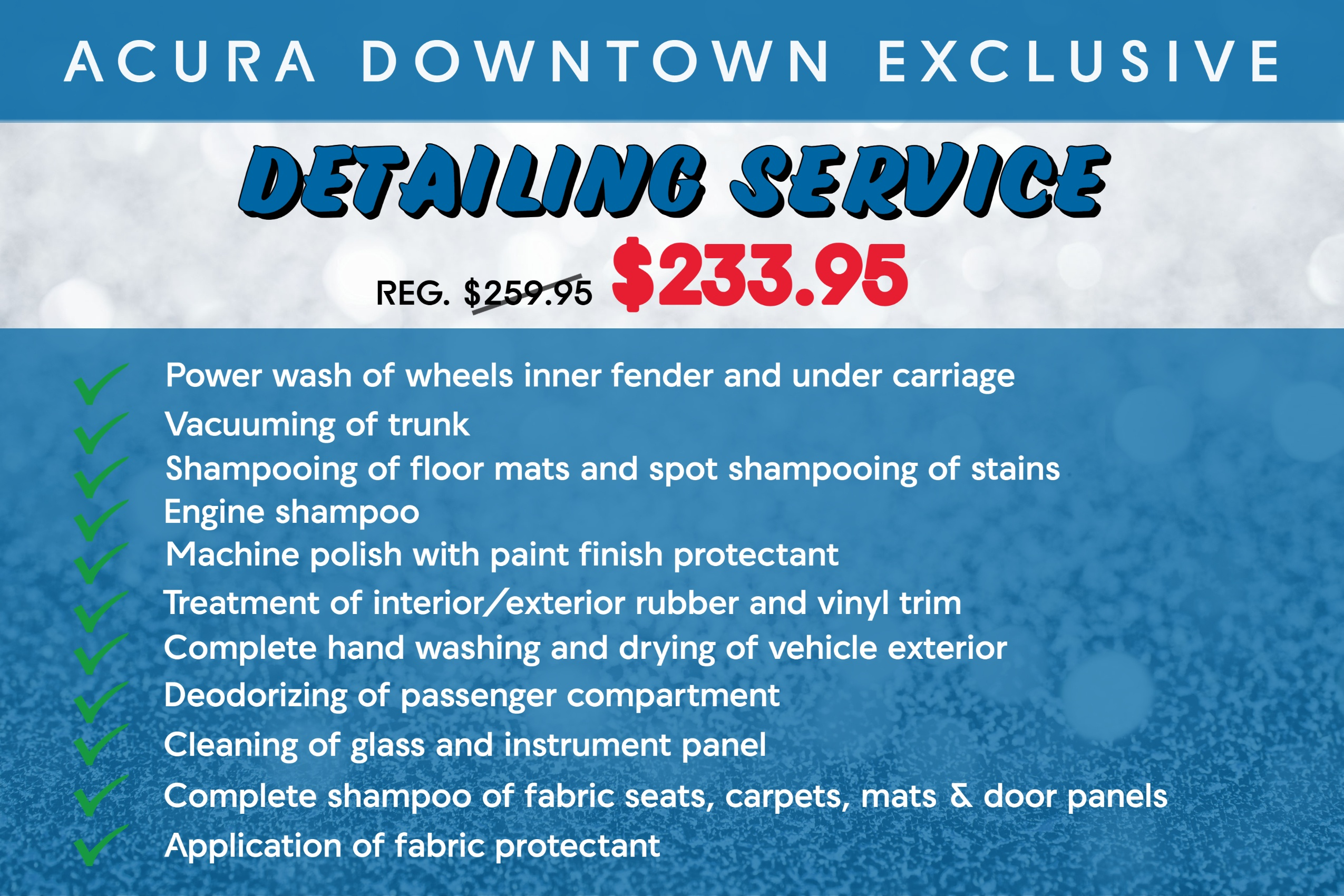 Acura Downtown Detailing Service